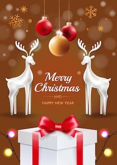 Christmas deer with christmas balls on the brown background. congratulatory christmas card.