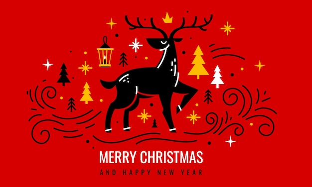Christmas deer with decorative holiday elements