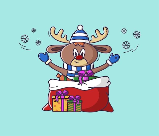 Рождественский олень с подарками в плоском стиле. иллюстрация