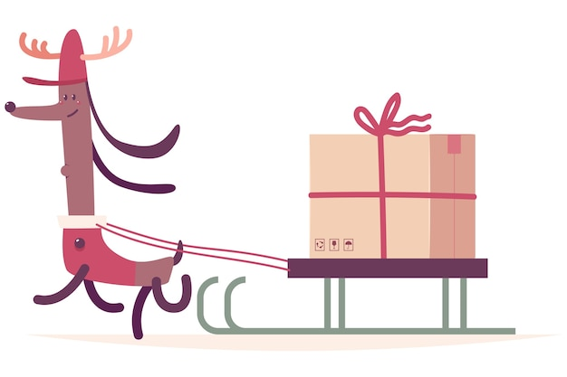 Christmas delivery dog in reindeer costume with sleigh and gift box cartoon illustration