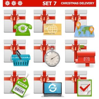 白い背景で隔離のクリスマス配信セット 7