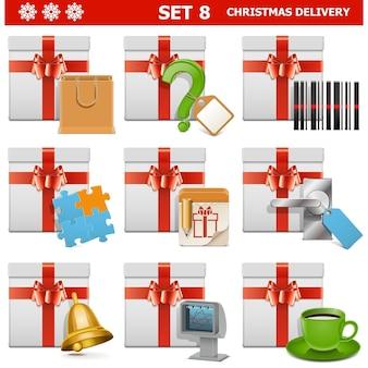 白い背景で隔離のクリスマス配信セット 8