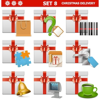 Christmas delivery set 8 isolated on white background