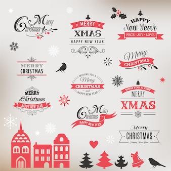 クリスマスデザインコレクション、レタリングと活版印刷の要素、アイコン、ビンテージラベルのセット。 。リボン、クリスマスビレッジ、ステッカー