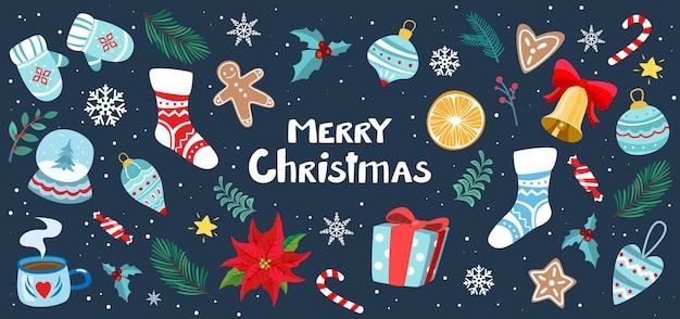 靴下ミトンのおもちゃで設定されたクリスマスのデザイン要素