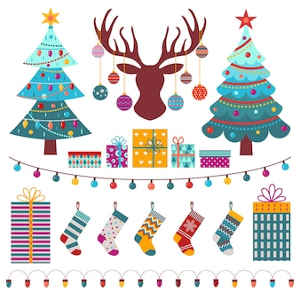 Christmas design elements set with holiday trees reindeer head stockings and decorations