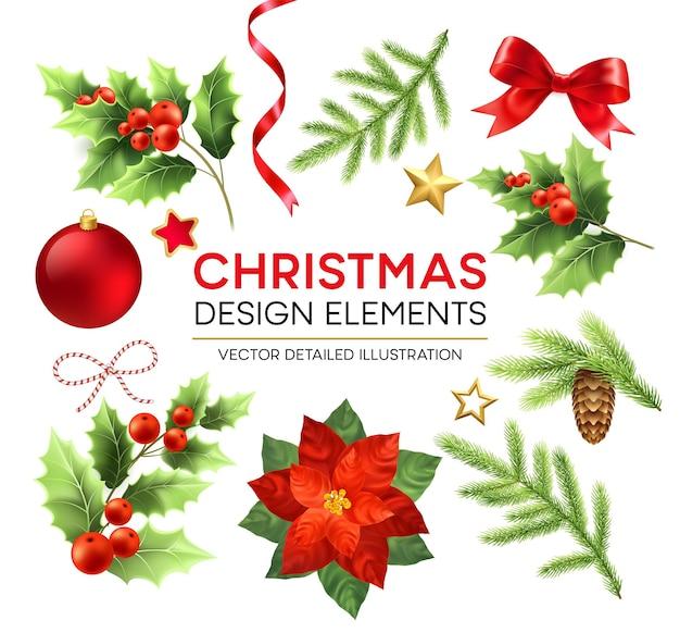 Рождественские элементы дизайна установлены. рождественские украшения и предметы. пуансеттия, еловая ветка, ягоды омелы, элементы дизайна шишки. елочный шар, лента и лук. отдельные векторные подробные иллюстрации