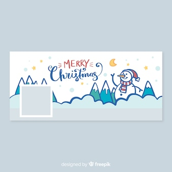 Christmas design facebook cover with snowman