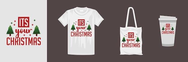 さまざまな服やアクセサリー製品のクリスマスデザイン。メリークリスマスのレタリング引用tシャツのデザイン。