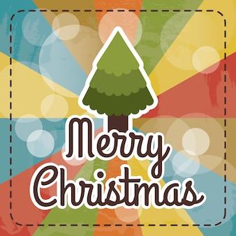 虹の背景の上にクリスマスのデザインは、ベクトル図