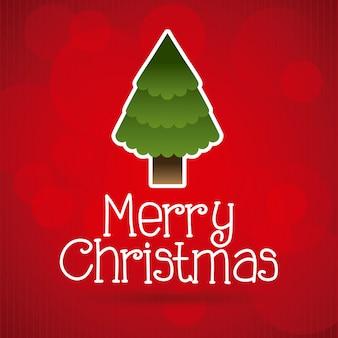 赤い背景のベクトル図上のクリスマスのデザイン