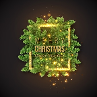 Christmas design, realistic gold frame with glowing lights and golden text, new year fir branches decoration. black color background.