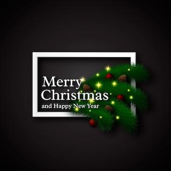 クリスマスのデザイン、リアルな白いフレームと影付きのテキスト、ne