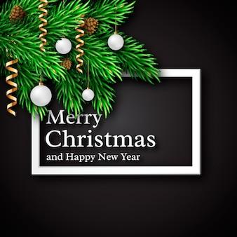 Рождественский дизайн, реалистичная белая рамка и текст с тенью, украшение новогодних еловых веток, белый шар, еловые шишки. черный цвет фона. векторная иллюстрация.