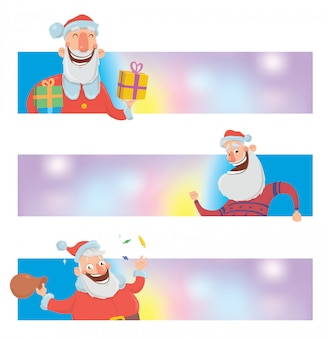 Christmas design templates with funny santa claus. santa claus brings presents in boxes. christmas banner or header for website with copy space.