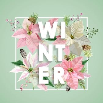 松とクリスマスデザインの冬の花
