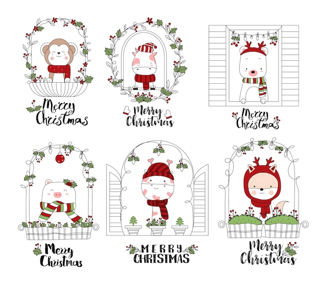 Christmas design with cute animal cartoon hand drawn style