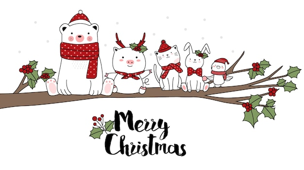 Christmas design with cute animal cartoon hand drawn style