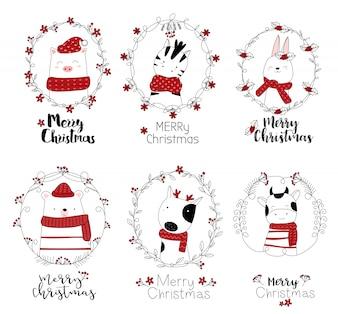 Рождественский дизайн с милым животным мультяшный рисованной стиль