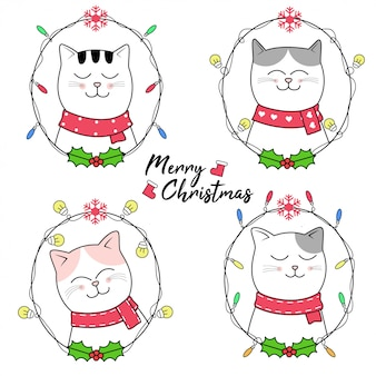Christmas design with cute cat cartoon hand drawn style