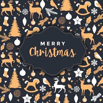 금 요소와 크리스마스 디자인
