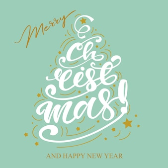Christmas design with greeting lettering. vector illustration.