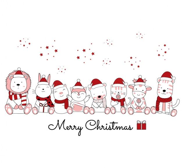 花のフレームでかわいい動物漫画のクリスマスデザイン。手描き漫画のスタイル