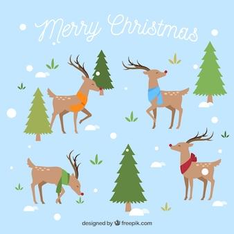 나무와 순록이있는 크리스마스 디자인
