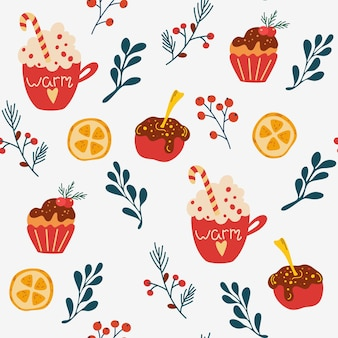 Christmas dessert seamless pattern. coffee with whipped cream lollipop apple in chocolate and muffin and twigs with berries. vector winter holidays print for textile, wallpaper, fabric.