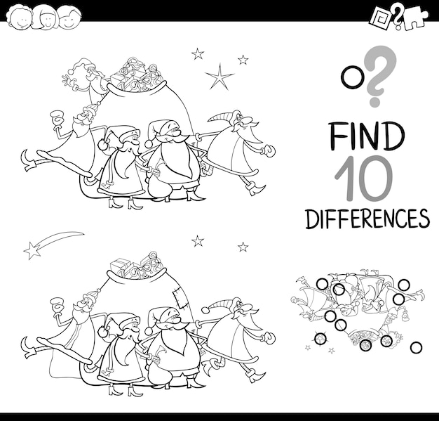 Christmas differences coloring page