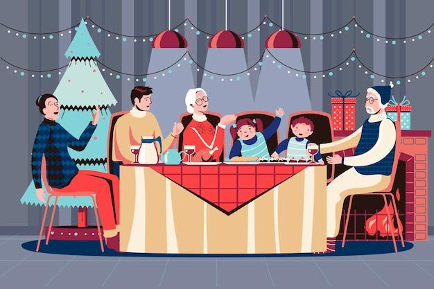 Christmas dinner illustration scene with family
