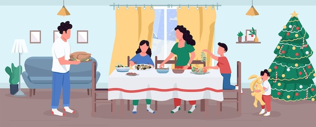 Christmas dinner preparation semi flat illustration