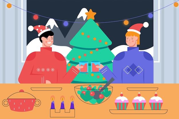 キャラクターとクリスマスディナーシーンイラスト