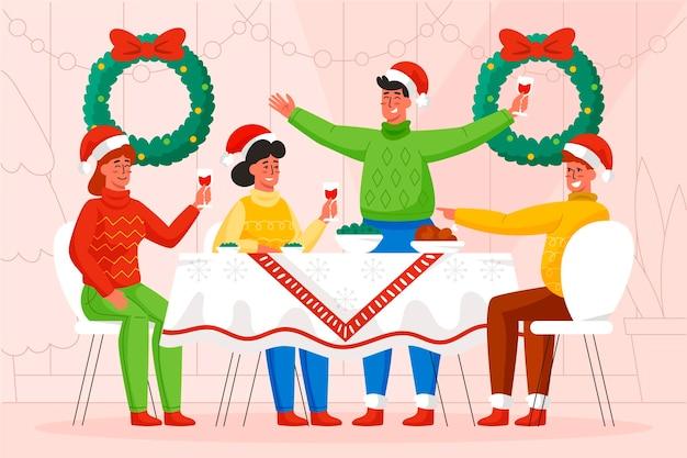 クリスマスディナーシーンイラスト