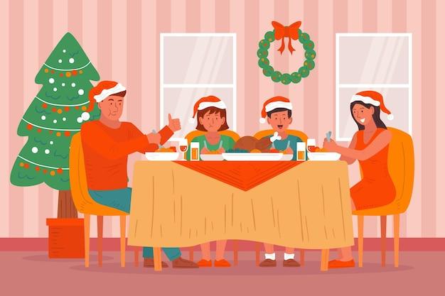 Иллюстрация сцены рождественского ужина