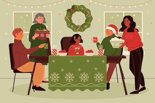 Christmas dinner scene illustration