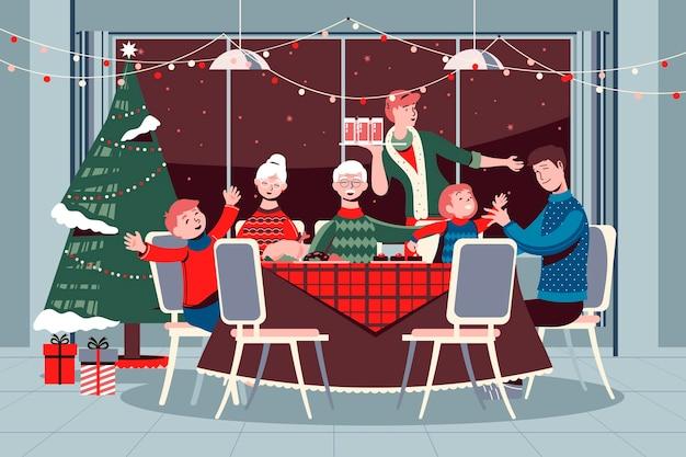 Christmas dinner scene with family