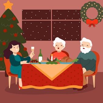 Scena del pranzo di natale con donna e anziani