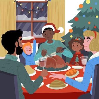 クリスマスディナーシーン