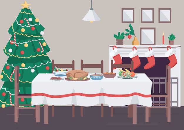 Christmas dinner table flat color illustration
