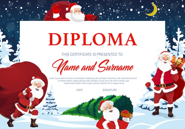 Christmas diploma, certificate with santa claus cartoon character. santa carrying sack with presents on back, going in forest at night for spruce . kindergarten or school winter holiday diploma