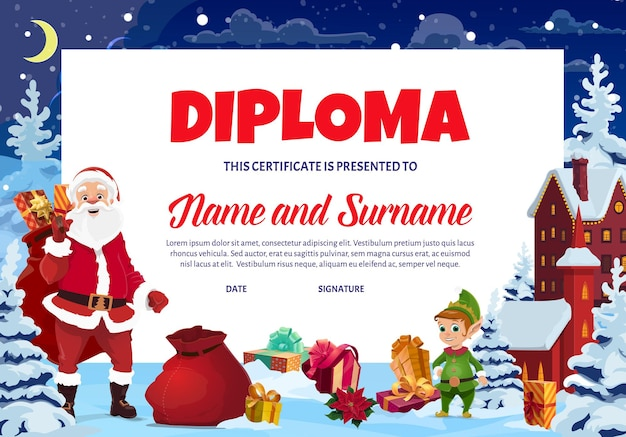 Christmas diploma for kids, child holiday certificate with santa and elf cartoon characters, gifts boxes, snowed spruce vector. children school graduation diploma, kindergarten celebration invitation