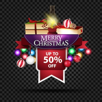 Christmas discount banner with up to 50% off