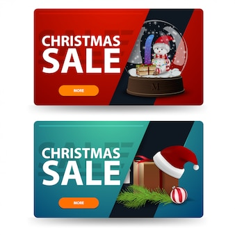 Christmas discount banners with gifts isolated on white background. red and green templates