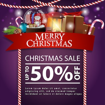 Christmas discount card with red ribbon, gifts, snow globe and antique lamp