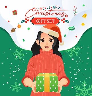 クリスマス割引またはプロモーションバウチャーのイラスト、サンタの帽子をかぶって、周りにクリスマスの飾りとギフトを保持している若い女性。