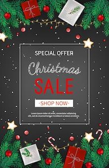 クリスマス割引セール、バナーモミの枝、ギフトボックス、キャンディケインの特別オファー