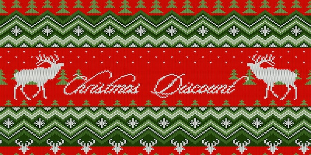 Christmas discount. scandinavian style seamless knitted pattern with deers