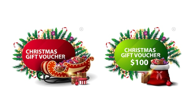 Christmas discount voucher, red and green discount banners in cartoon style decorated with christmas elements, santa sleigh and santa bag