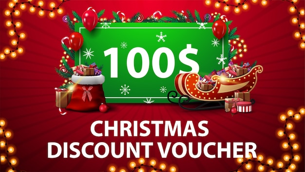 Christmas discount voucher with santa sleigh and bag with presents, garland frame and green offer decorated with presents